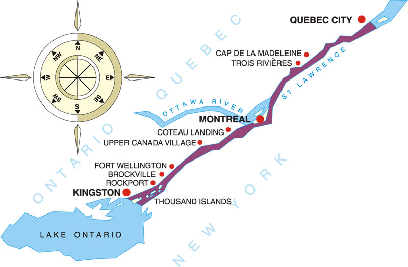 Canadian Connection Cruises USA River Cruises Official Site - St lawrence river on us map
