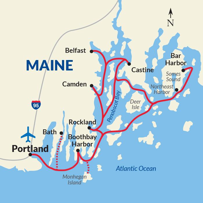Maine Coast Harbors Cruise Day USA River Cruises - Map of maine rivers