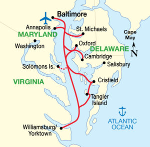 Chesapeake Bay Cruise itinerary map
