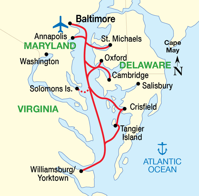 Chesapeake Bay Cruise Itinerary Map 7 Night Cruise Itinerary