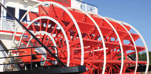 Mississippi River Boat - a close-up of the iconic and beautiful paddlewheel