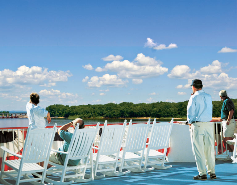 Relax on the rocking chairs on deck as you watch the shoreline alongside the Upper Mississippi River go by. Rock on the deck as you float on the Mississippi River. Enjoy the breeze from the Mississippi River.