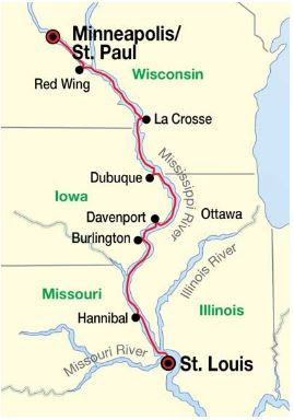Upper Mississippi River itinerary map with ports of call.