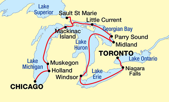 Great Lakes And Georgian Bay Cruise USA River Cruises Official Site - The great lakes on us and canada map