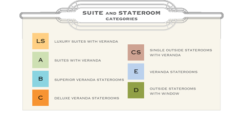 American Empress suite and stateroom categories.
