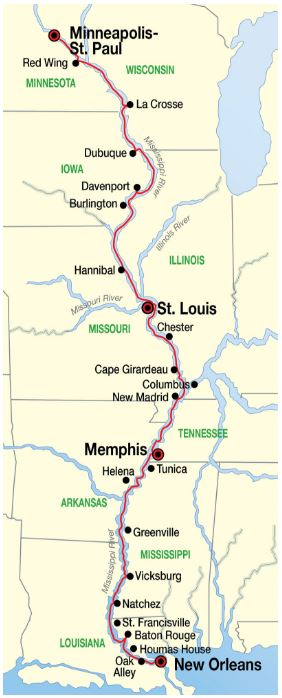 Grand Heartland cruise itinerary and Complete Mississippi River cruise map