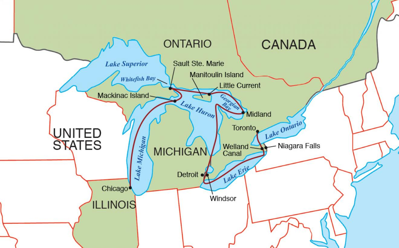 Great Lakes Grand Discovery USA River Cruises Official Site - Great lakes in usa map