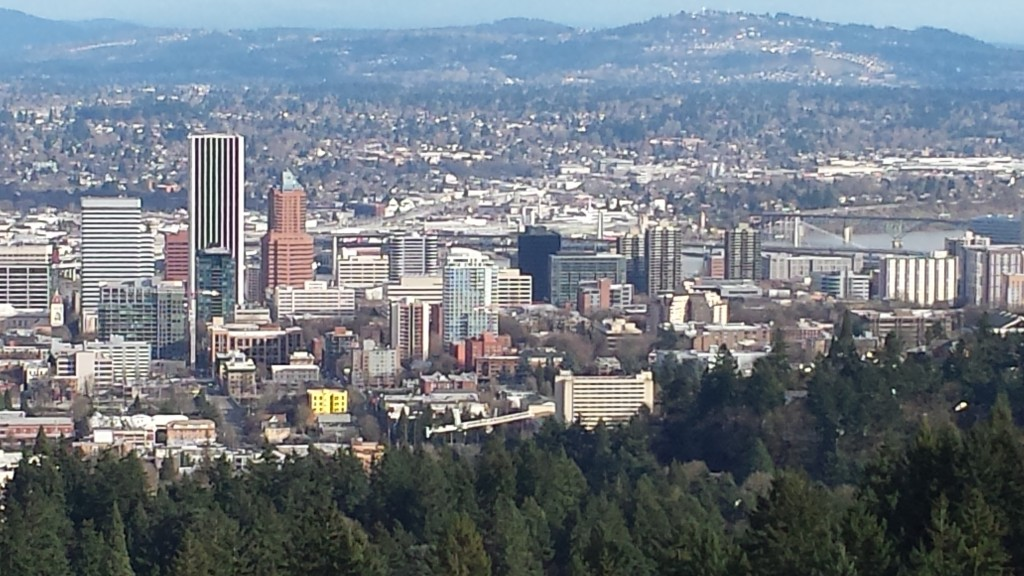 The View of downtown Portland, Oregon from Pittock Mansion