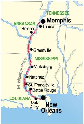 Lower Mississippi River cruise itinerary map 2016 from American Cruise Lines