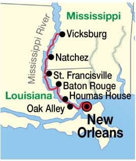 American Cruise Lines itinerary map for the New Orleans Roundtrip cruise, 8-days 7-nights