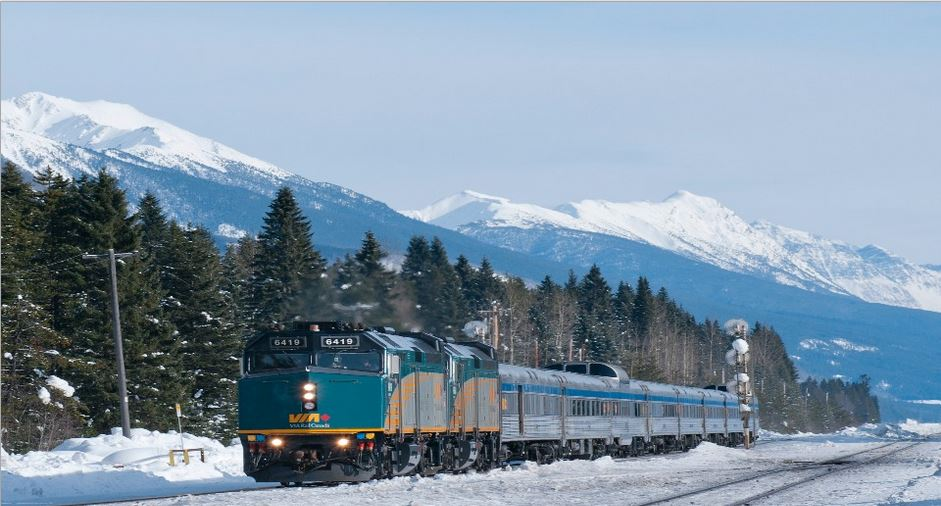 Snow train through the Canadian Rockies aboard VIA Rail