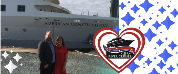 USA River Cruises staff in front of American Constellation Cruise Ship