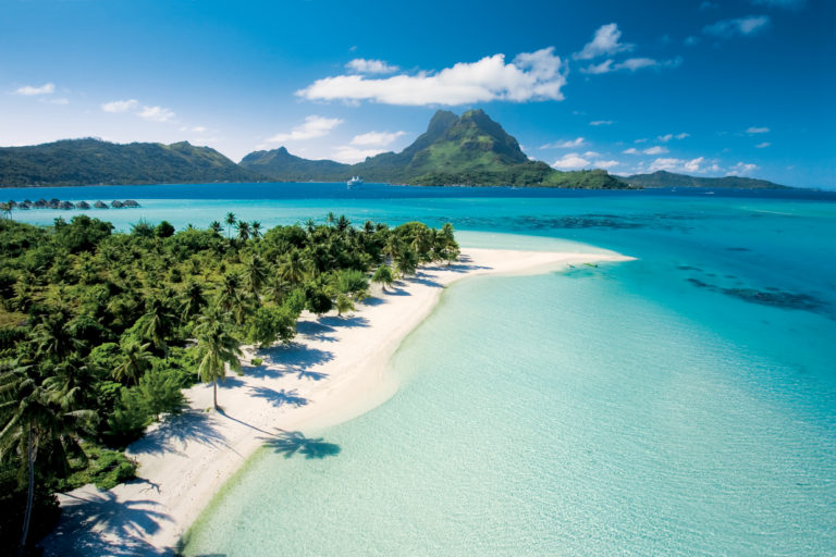 Enjoy time on our private beach in Bora Bora on your Tahiti cruise.
