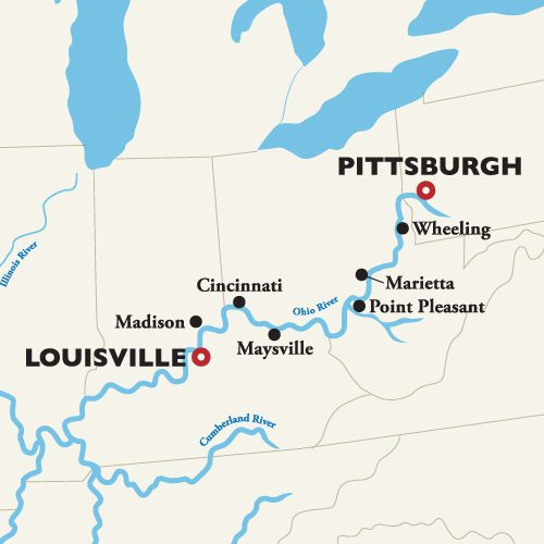 Louisville to Pittsburgh Itinerary Map
