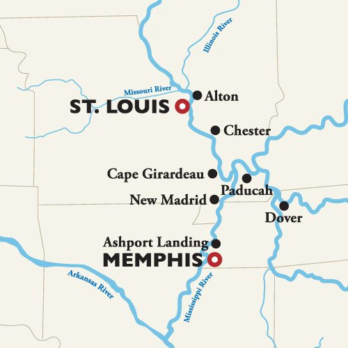 St. Louis to Memphis Itinerary Map