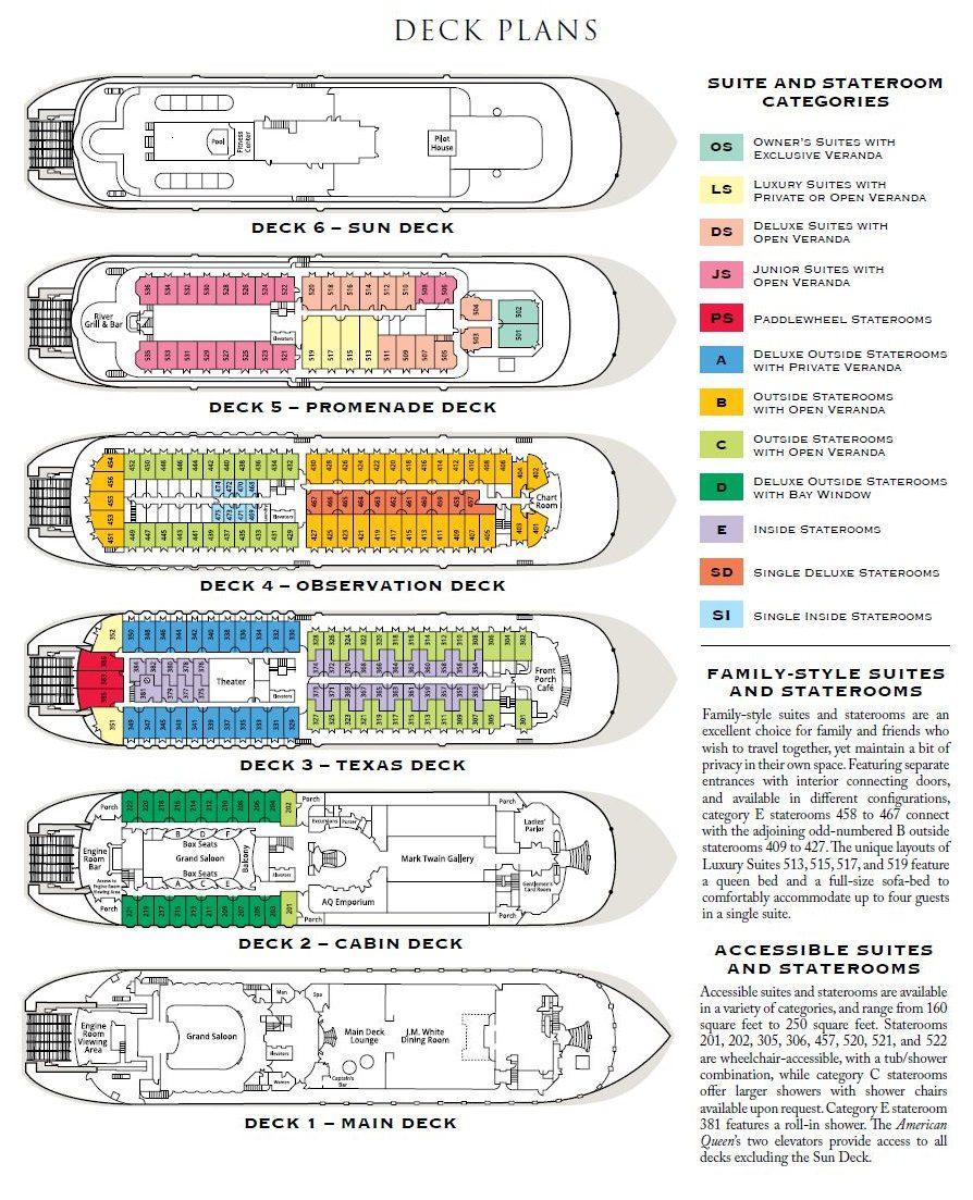 American Queen Deck Plan 2020