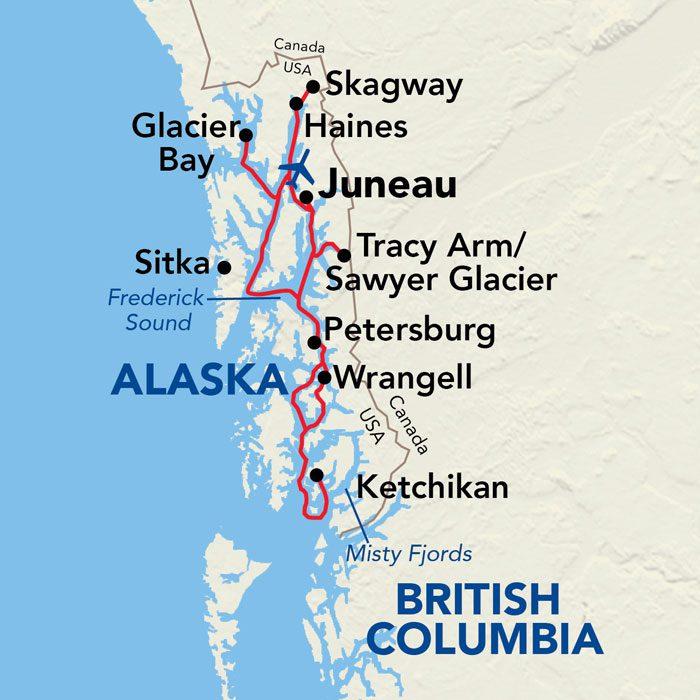 Alaskan Explorer Cruise Map