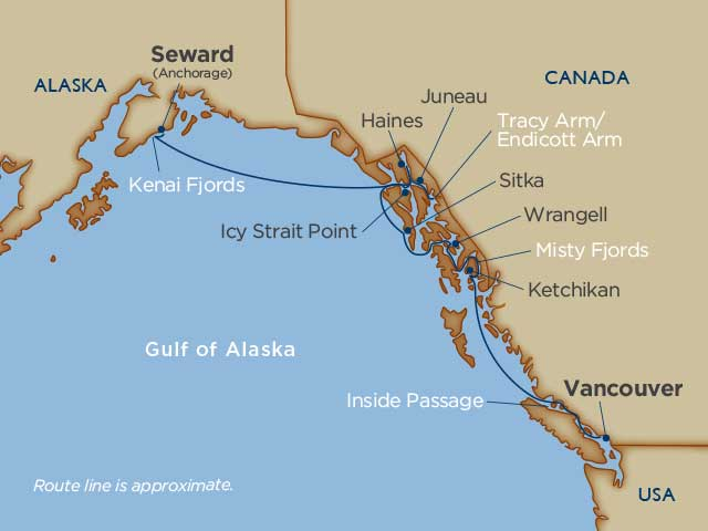 Alaskan Cruise Splendor Map - Gulf of Alaska