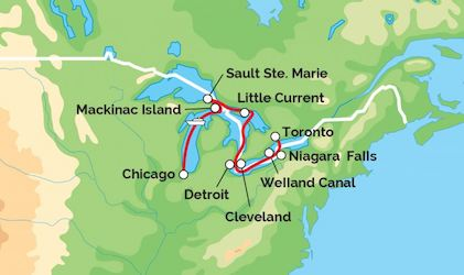 Great Lakes Cruise Map