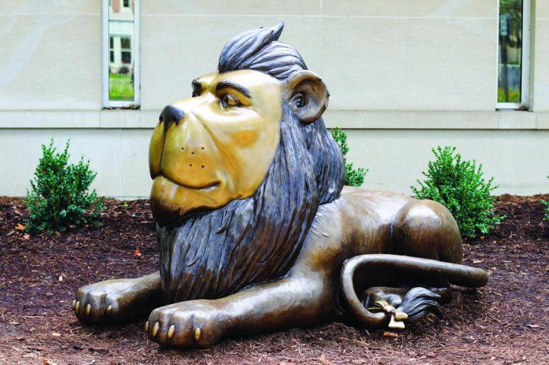 cowardly lion in holland michigan art installation