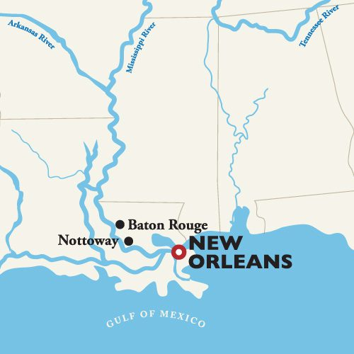Map of New Orleans River Cruise